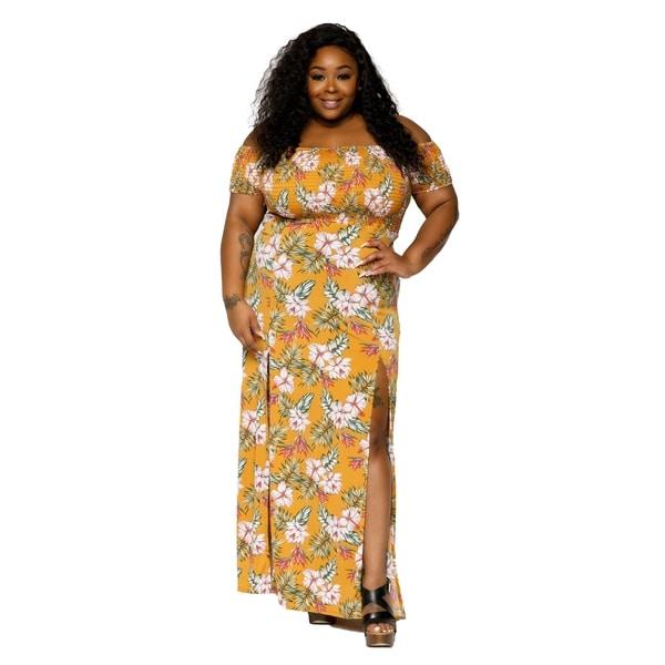 79bd9300cf Shop Xehar Womens Plus Size Sexy Off Shoulder Side Slit Floral Maxi ...