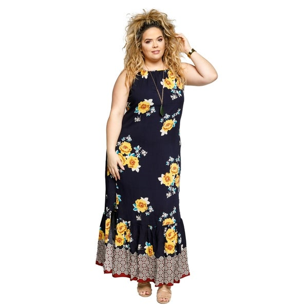 Shop Xehar Womens Plus Size Sleeveless Floral Long Ruffle ...