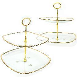 Two-tier Gold Trim Glass Servers (Set of 2)