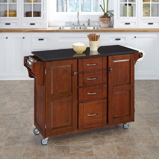 Copper Grove Puff Island Cherry Finish Black Granite Top Kitchen Cart