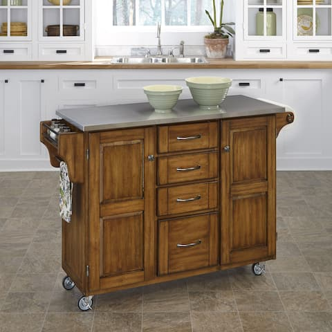 Copper Grove Puff Island Warm Oak Finish Stainless Top Kitchen Cart