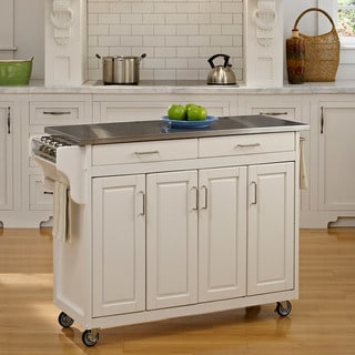 Copper Grove Puff Island White Finish with Stainless Steel Top Kitchen Cart