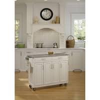 Gracewood Hollow Defoe White Granite Top White Finish Kitchen Cart