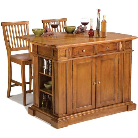 Copper Grove Schreiber Distressed Oak Kitchen Island and Stools Set