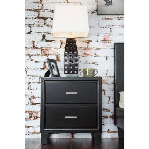 Furniture of America Kema Contemporary Espresso Solid Wood Nightstand