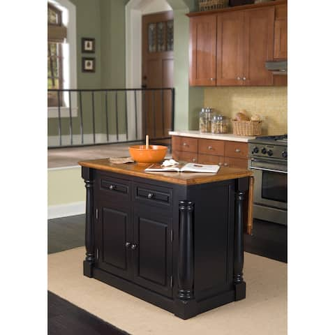 The Gray Barn Whistle Stop Distressed Black & Oak Finish Kitchen Island