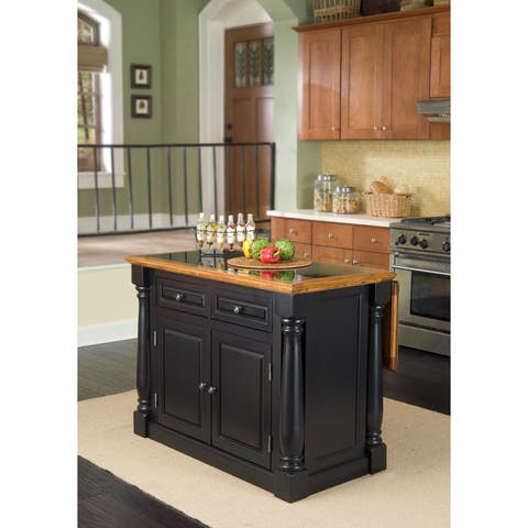 The Gray Barn Whistle Stop Distressed Oak and Granite Top Black Wooden Kitchen Island