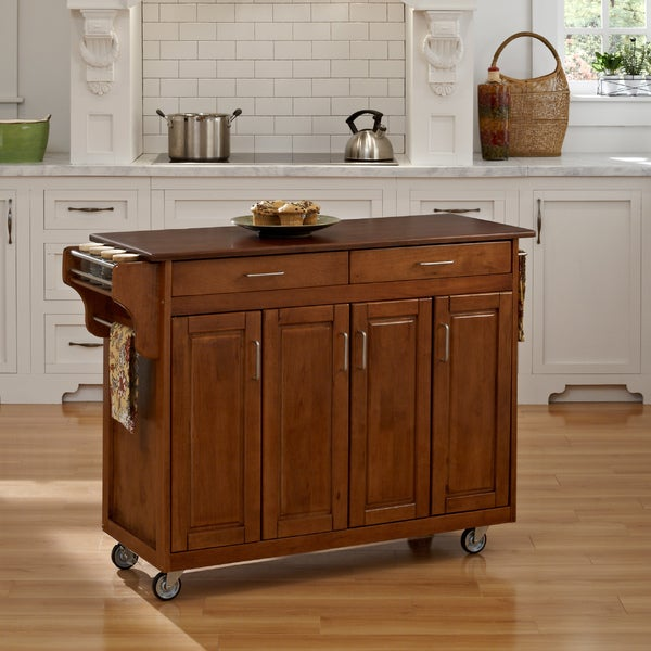 Copper Grove Puff Island Warm Oak Finish with Cherry Top Kitchen Cart