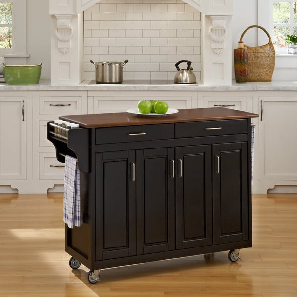 Black Kitchen Island For Sale: Shop Copper Grove Puff Island Black Finish With Cherry Top