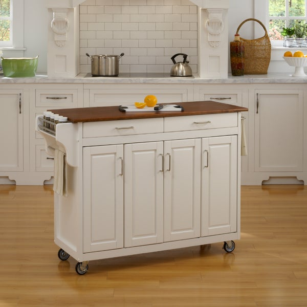 Copper Grove Puff Island White Finish with Oak Top Kitchen Cart