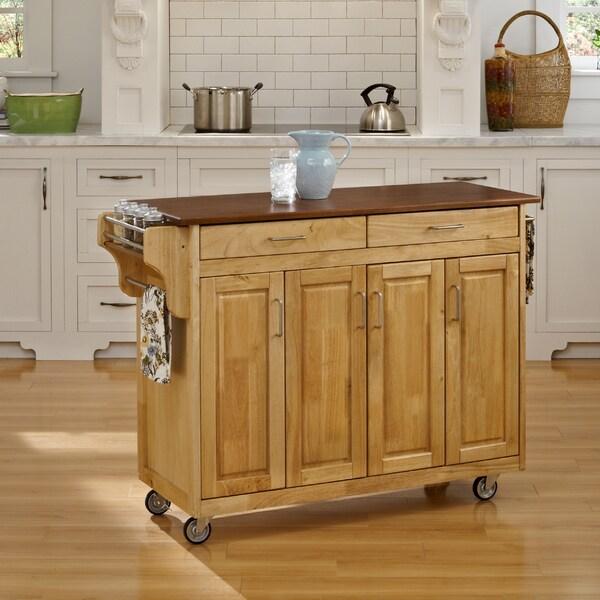 Copper Grove Puff Island Natural Finish with Oak Top Kitchen Cart