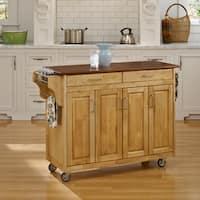 Gracewood Hollow Defoe Natural Finish with Oak Top Kitchen Cart