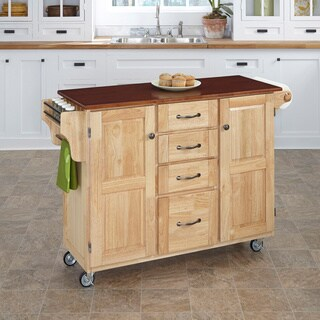 Copper Grove Puff Island Natural Hardwood and Cherry Top Kitchen Island Cart