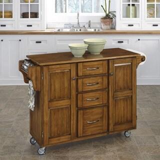 Copper Grove Puff Island Oak Finish Kitchen Cart