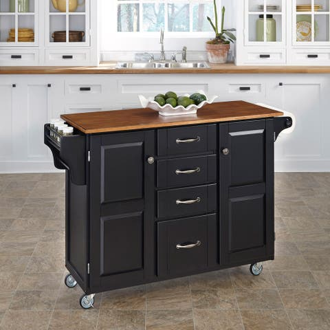 Copper Grove Puff Island Black Finish with Brown Top Kitchen Cart