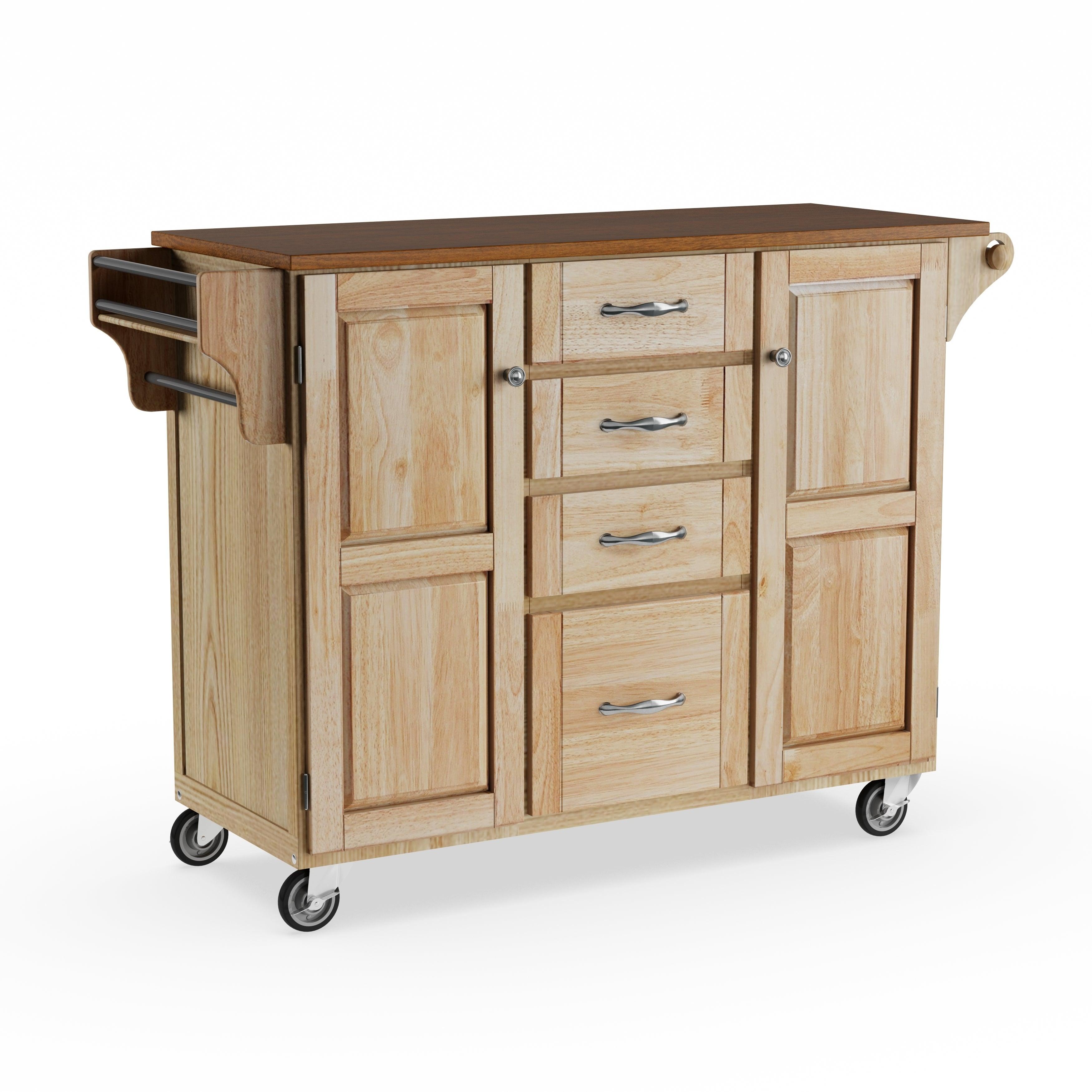 Copper Grove Puff Island Natural Finish 4 Drawer Kitchen Cart