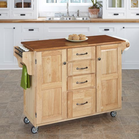 Copper Grove Puff Island Natural Finish 4-drawer Kitchen Cart
