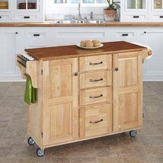 Copper Grove Puff Island Natural Finish 4-drawer Kitchen Cart