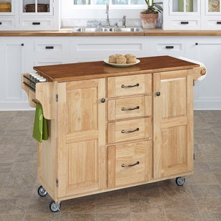 Gracewood Hollow Defoe Natural Finish 4-drawer Kitchen Cart