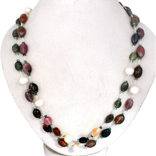 Orchid Jewelry 925 Sterling Silver 288.50 Carat Tourmaline & Pearl Necklace
