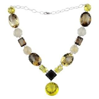 Orchid Jewelry 925 Sterling Silver Smoky Quartz, Lemon Quartz, Rutilated Quartz & Black Onyx Necklace