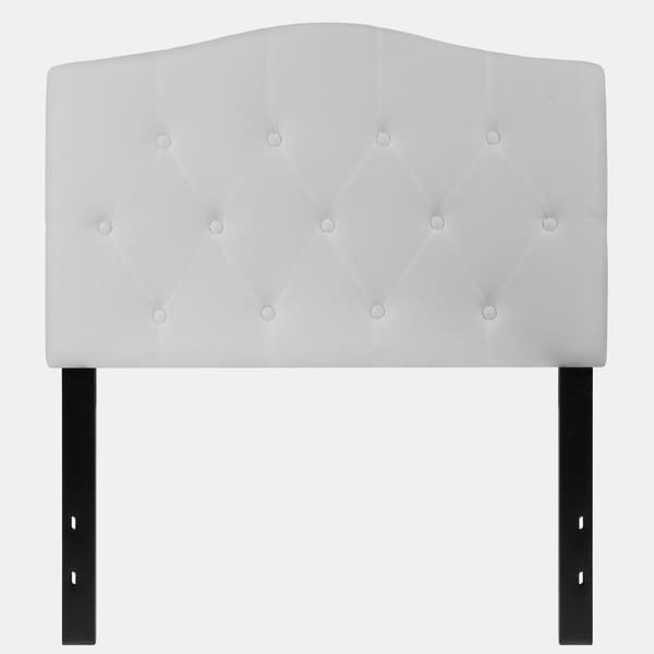 Medford Twin Size White Fabric Upholstered Tufted Headboard