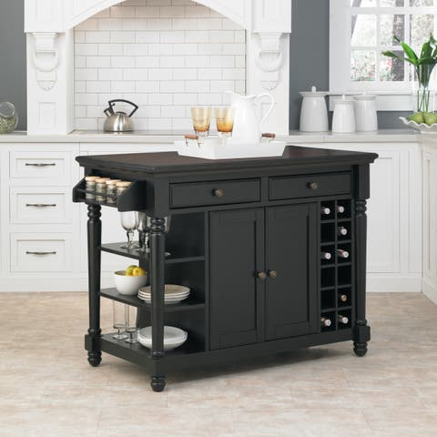Gracewood Hollow Remarqu Black and Rustic Cherry Kitchen Island