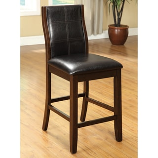 "Furniture of America Tornillo Leatherette Counter Height Dining Chairs (Set of 2) - 19""W X 21.75""D X 41.25""H"