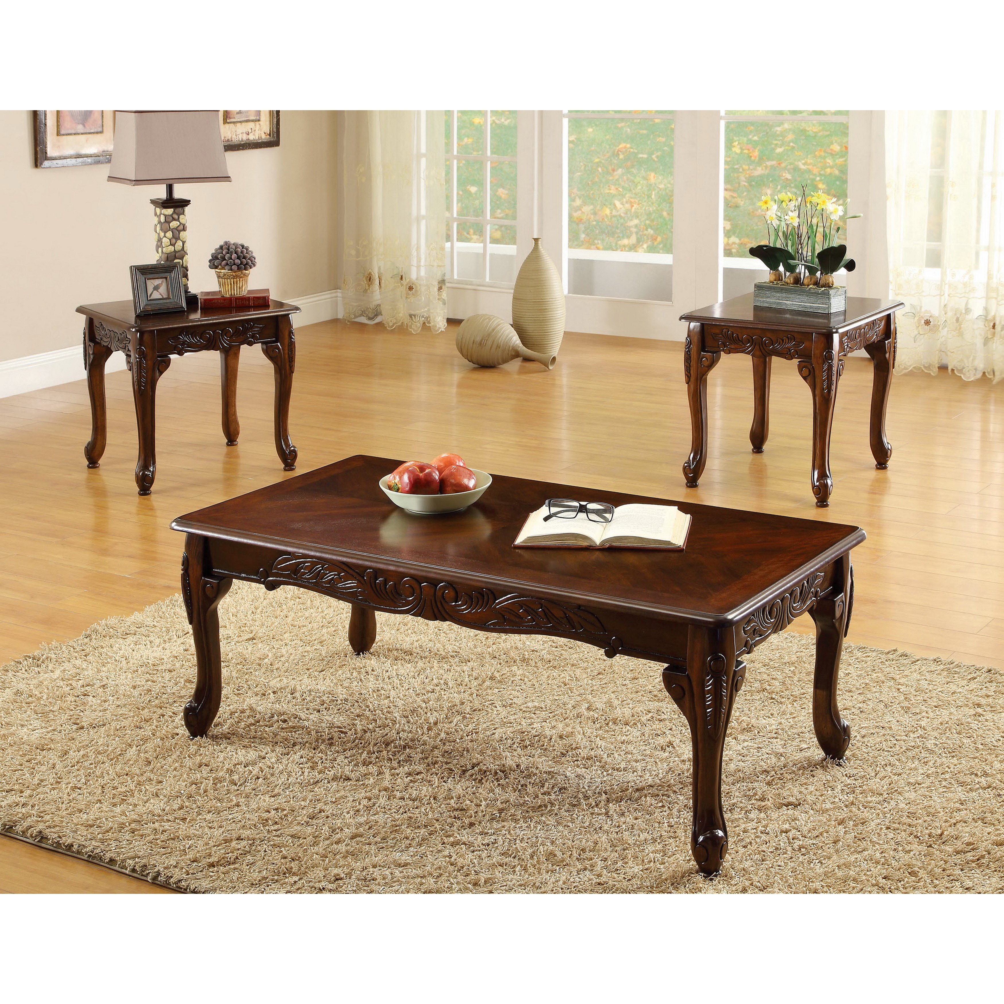 Furniture Of America Mariefey Clic Style 3 Piece Cherry Coffee And End Table Set