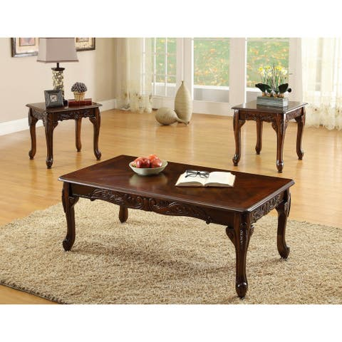 Furniture of America Mariefey 3-piece Cherry Coffee and End Table Set