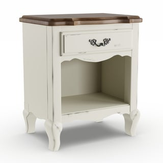 Gracewood Hollow Werstine White Finish with Brown Top Night Stand