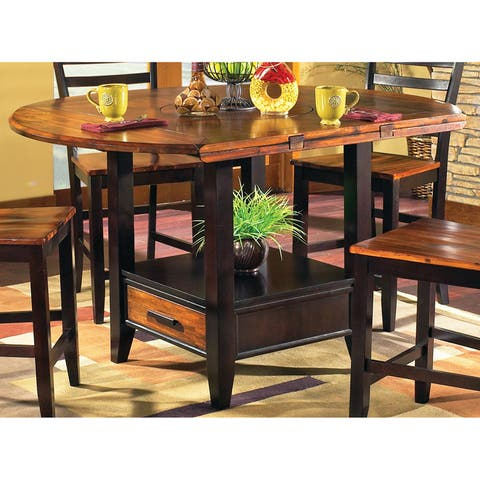 Copper Grove Gladiolus Acacia 42-inch Counter Height Drop Leaf Storage Table - Brown
