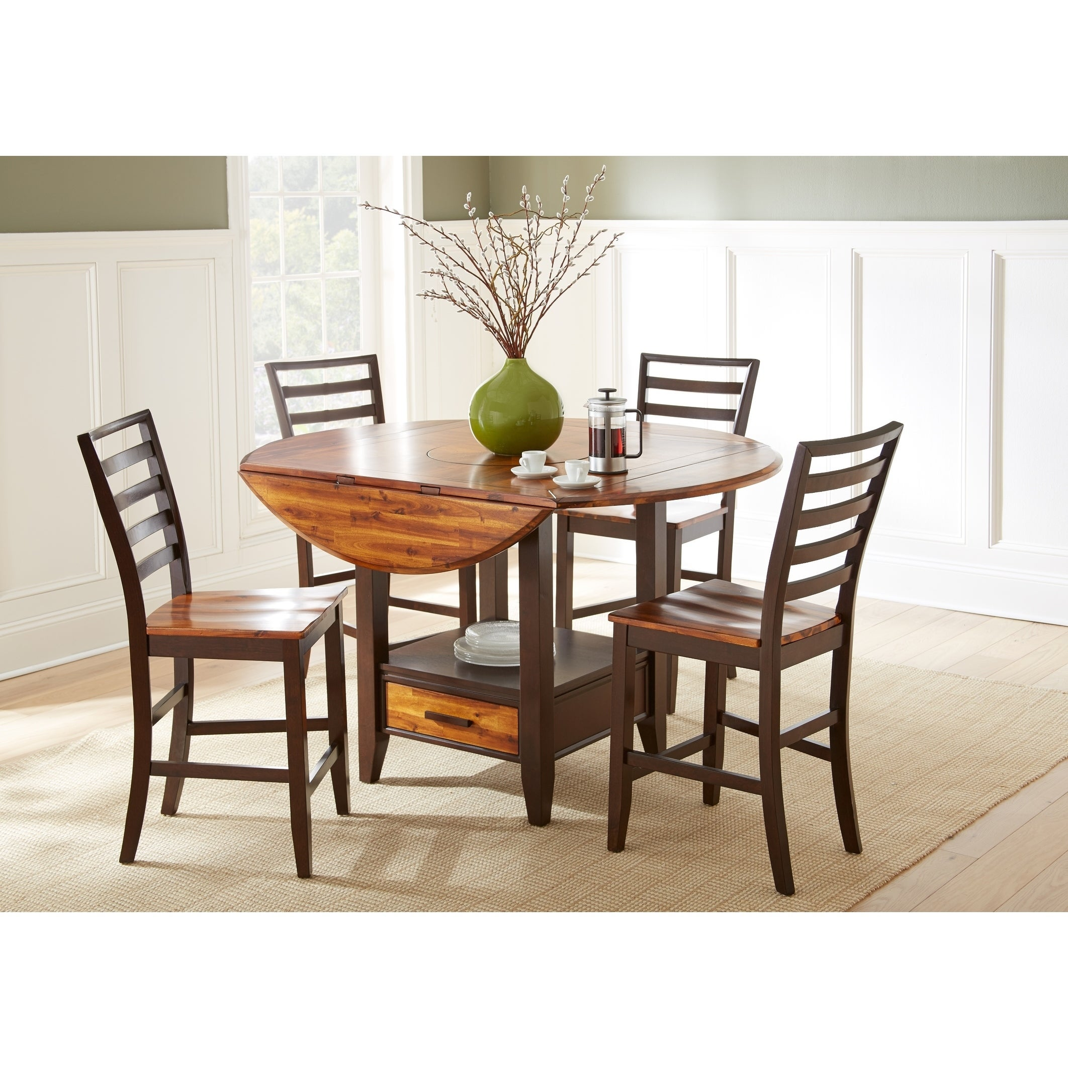 Copper Grove Warkworth Acacia 5 Piece Counter Height Lazy Susan And Storage Dining Set