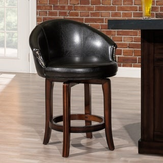 Gracewood Hollow Heinlein Black and Cherry Faux Leather Swivel Stool