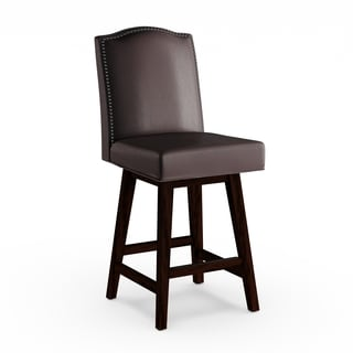 Gracewood Hollow Adam Leather Swivel Counter Stool