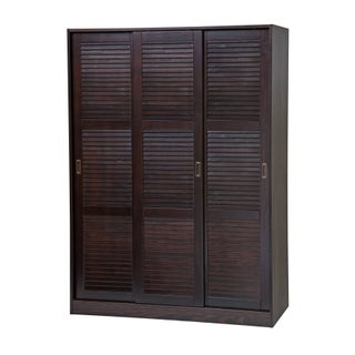 Gracewood Hollow Siddartha Customizable Solid Pine Three Sliding Door Wardrobe