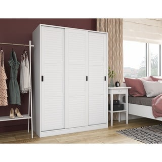 Gracewood Hollow Siddartha Customizable Solid Pine Three Sliding Door Wardrobe