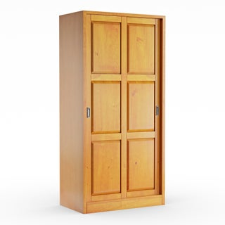 Gracewood Hollow Siddartha Customizable Solid Wood Wardrobe with Two Sliding Doors (Option: Honey Pine)