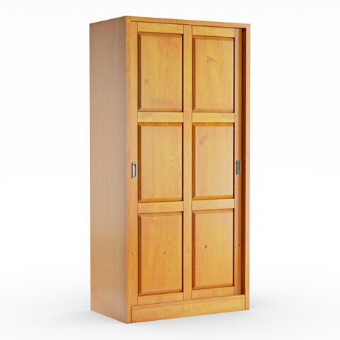 Gracewood Hollow Siddartha Customizable Solid Wood Wardrobe with Two Sliding Doors