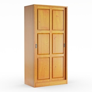 Gracewood Hollow Siddartha Customizable Solid Wood Wardrobe with Two Sliding Doors