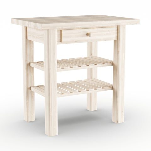 Gracewood Hollow Harry Unfinished Solid Parawood Kitchen Island