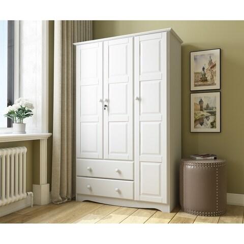 Gracewood Hollow Siddartha Grand Solid Wood 3-door Wardrobe with Lock