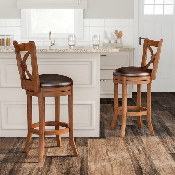 Fabulous Shop Gracewood Hollow Cronos 26 Inch Brown Swivel Wood Theyellowbook Wood Chair Design Ideas Theyellowbookinfo