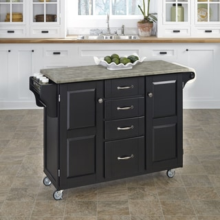 Copper Grove Puff Island Black Finish Concrete Top Kitchen Cart