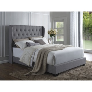Copper Grove Manti Grey Linen Wingback Bed