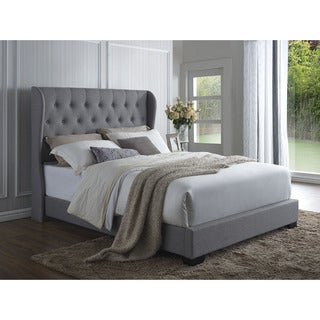 Gracewood Hollow Grahame Grey Linen Wingback Bed