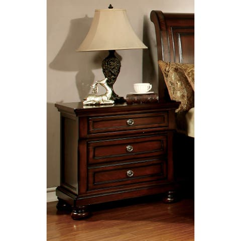Furniture of America Barelle Cherry Nightstand with Power Outlet