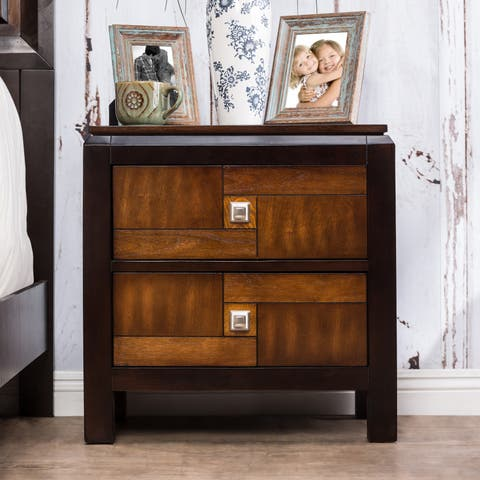 Transitional Walnut 2-drawer Nightstand by FOA