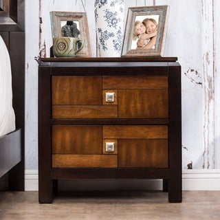 Furniture of America Poa Transitional Walnut Solid Wood Nightstand