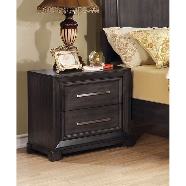 Furniture of America Nini Transitional Grey Solid Wood Nightstand